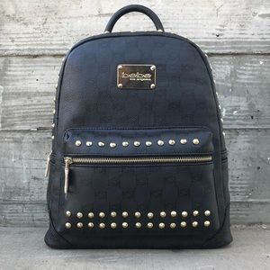 Bebe Jett Black Monogram Studded Medium Backpack